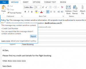DLP example on email