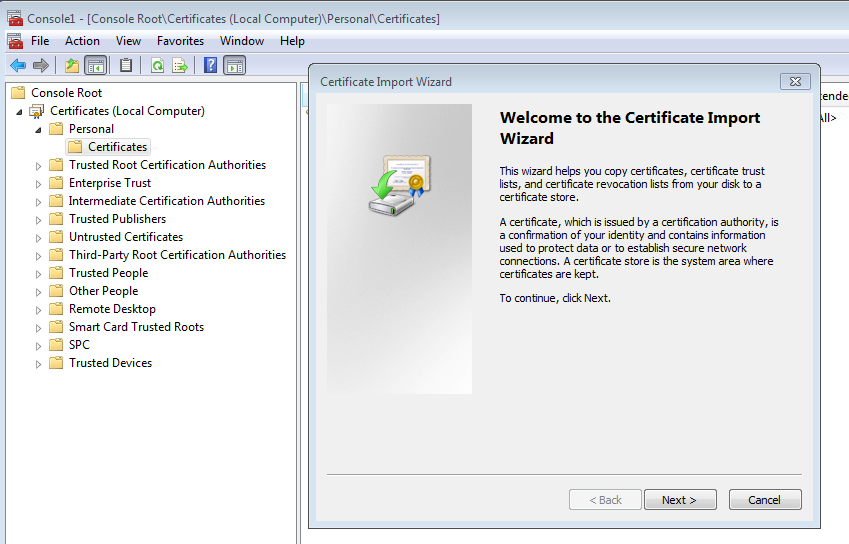 Example MMC for new RDP certificate